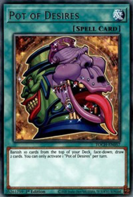 YuGiOh Toon Chaos Rare Pot of Desires TOCH-EN057