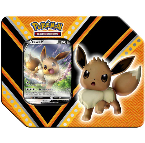 Pokemon Trading Card Game V Powers Eevee V Tin Set [5 Booster Packs & Promo Card!]