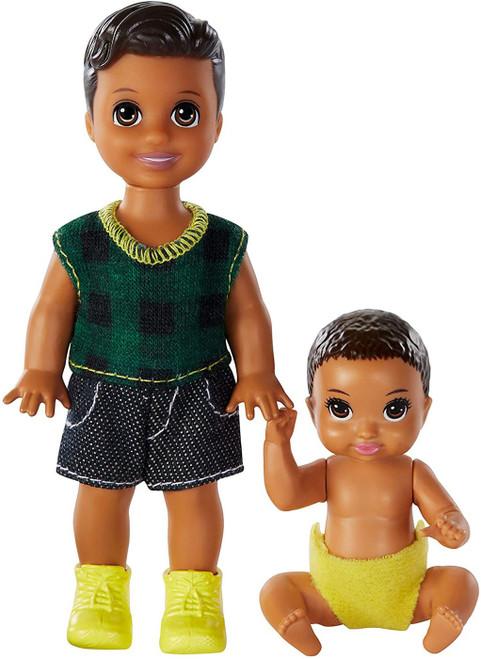 Barbie Skipper Babysitters Inc Baby & Toddler Mini Doll 2-Pack [Brunette, Green Plaid]
