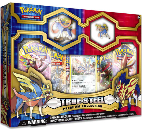 Pokemon Trading Card Game True Steel Zacian Premium Collection [6 Booster Packs, Figure, Promo Card & Pin!]