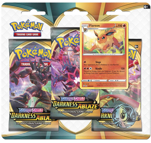Pokemon Trading Card Game Sword & Shield Darkness Ablaze Flareon Special Edition [3 Booster Packs, Promo & Coin!]
