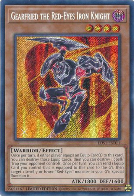 YuGiOh Legendary Duelists: Season 1 Secret Rare Gearfried the Red-Eyes Iron Knight LDS1-EN011