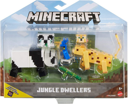 Minecraft Comic Maker Jungle Dwellers Action Figure 2-Pack [Panda & Leopard, with Parrot]