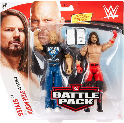 WWE Wrestling Battle Pack Series 67 Steve Austin & AJ Styles Action Figure 2-Pack