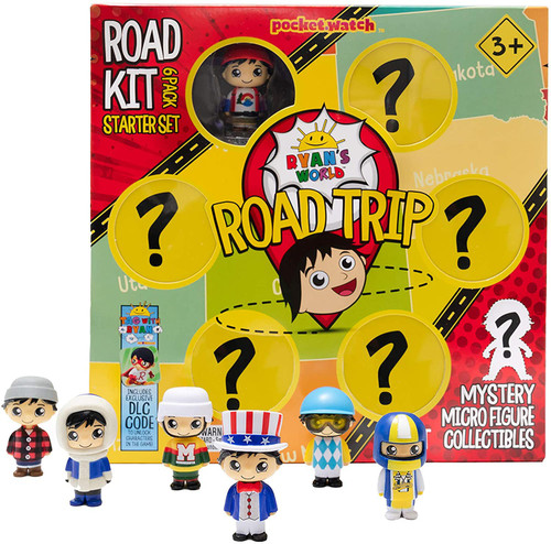 Ryan's World Road Trip Road Kit Mystery Micro Figure 6-Pack Starter Set