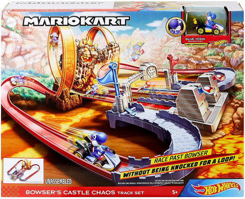 Hot Wheels Mario Kart Bowser's Castle Chaos Exclusive Track Set [Includes Blue Yoshi!]