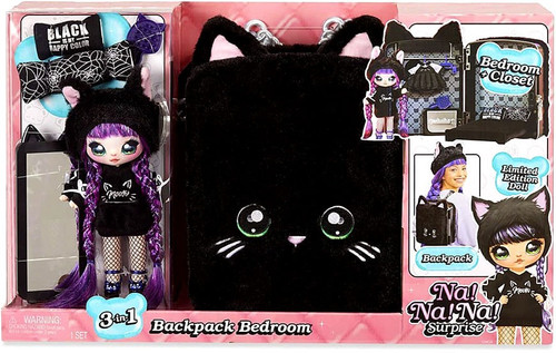 Na! Na! Na! Surprise Backpack Bedroom with Meow Playset [Black]