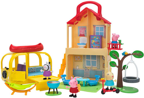 Peppa Pig Play House & Play n' Go Campervan Exclusive Playset Combo Pack [Includes Teddy, George with Dino, Suzy Sheep, Rebecca Rabbit Figures]