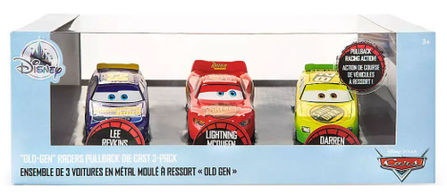 "Disney / Pixar Cars Pull 'n' Race ""Old-Gen"" Racers Exclusive Diecast Car 3-Pack [Lee Revkins, Lightning McQueen & Darren Leadfoot]"