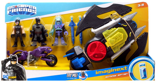 Fisher Price DC Super Friends Imaginext Batwing Gift Set [with Batman, Catwoman, Mr. Freeze & Catcycle]