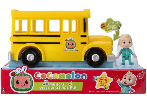 Cocomelon Musical Yellow School Bus Playset with Sound [Includes JJ Figure!]