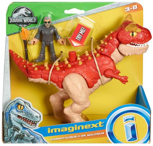 Fisher Price Jurassic World Imaginext Carnotaurus & Dr. Malcolm Figure Set