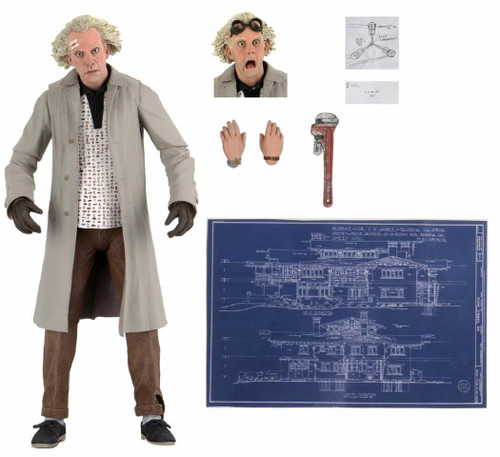NECA Back to the Future Doc Emmett Brown Action Figure [Ultimate Version, Wrench, Flux Capacitor Drawing & Blueprint] (Pre-Order ships November)