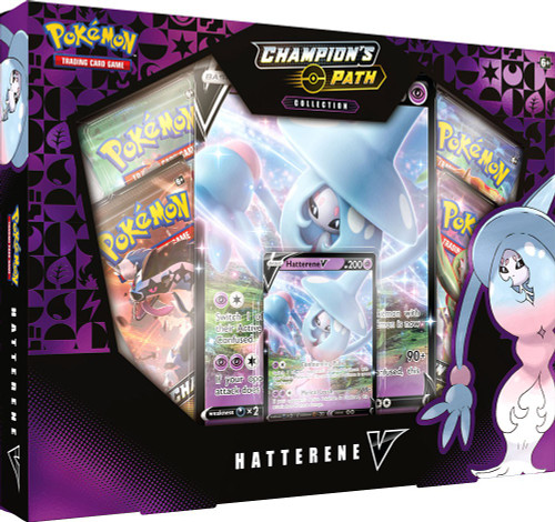 Pokemon Trading Card Game Champion's Path Hatterene V Collection [4 Booster Packs, Promo Card & Oversize Card]