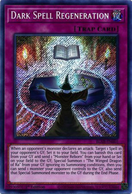 YuGiOh Battles of Legend Armageddon Secret Rare Dark Spell Regeneration BLAR-EN001