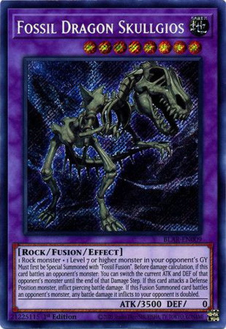 YuGiOh Battles of Legend Armageddon Secret Rare Fossil Dragon Skullgios BLAR-EN009