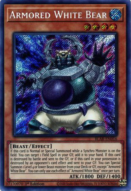 YuGiOh Battles of Legend Armageddon Secret Rare Armored White Bear BLAR-EN016