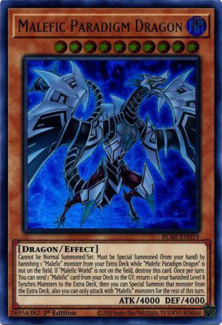 YuGiOh Battles of Legend Armageddon Ultra Rare Malefic Paradigm Dragon BLAR-EN019