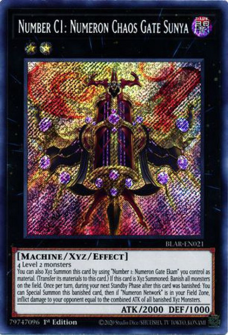 YuGiOh Battles of Legend Armageddon Secret Rare Number C1: Numeron Chaos Gate Sunya BLAR-EN021