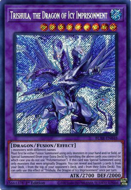 YuGiOh Battles of Legend Armageddon Secret Rare Trishula, the Dragon of Icy Imprisonment BLAR-EN048