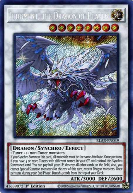 YuGiOh Battles of Legend Armageddon Secret Rare Judgment, the Dragon of Heaven BLAR-EN049