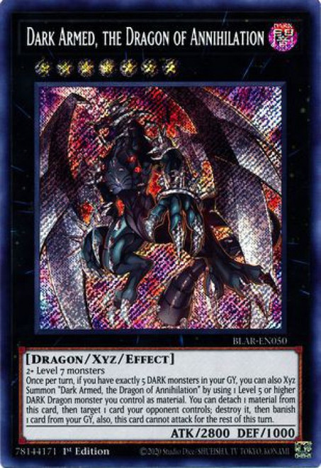 YuGiOh Battles of Legend Armageddon Secret Rare Dark Armed, the Dragon of Annihilation BLAR-EN050