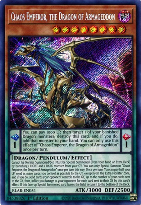 YuGiOh Battles of Legend Armageddon Secret Rare Chaos Emperor, the Dragon of Armageddon BLAR-EN051