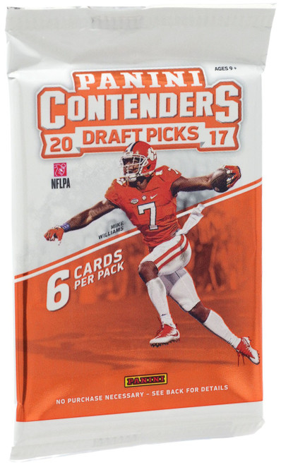 NFL Panini 2017 Contenders Draft Picks Football Trading Card RETAIL Pack [6 Cards]