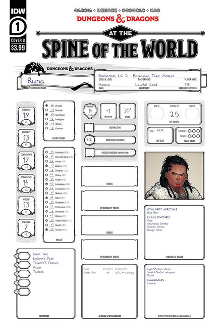 IDW Publishing Dungeons & Dragons #1 At the Spine of the World Comic Book [Cover B Character Sheet] (Pre-Order ships January)