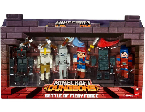 Minecraft Dungeons Battle of Fiery Forge Exclusive Action Figure 4-Pack [Skeleton Vanguard, Valorie, Hex & Skeleton]