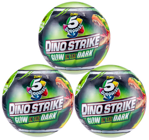 5 Surprise Dino Strike Series 2 Glow-in-the-Dark LOT of 3 Mystery Packs