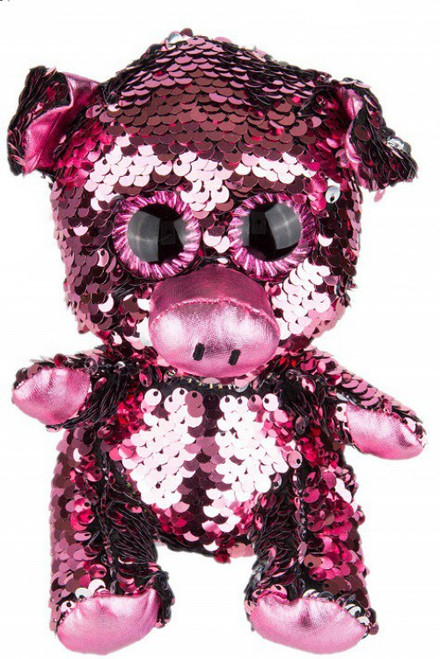 Bling Sequin Pig 6-Inch Plush Doll [Pink to Silver]