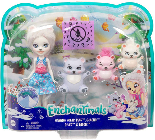 Enchantimals Pristina Polar Bear, Glacier, Diver & Paddle Exclusive Figure 4-Pack