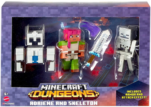 Minecraft Dungeons Adriene in Armor & Skeleton Action Figure 2-Pack