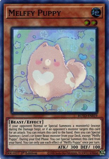 YuGiOh Rise of the Duelist Super Rare Melffy Puppy ROTD-EN019