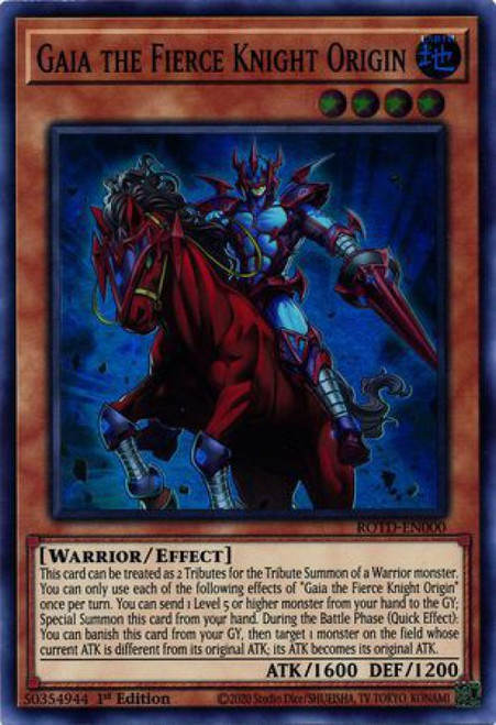 YuGiOh Rise of the Duelist Super Rare Gaia the Fierce Knight Origin ROTD-EN000