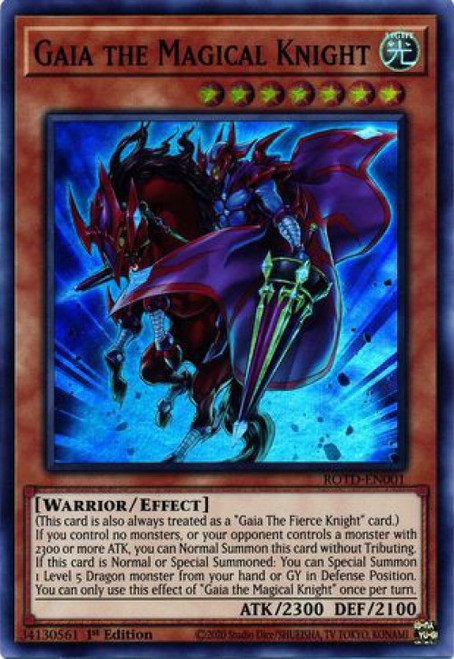 YuGiOh Rise of the Duelist Super Rare Gaia the Magical Knight ROTD-EN001