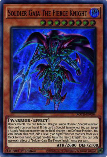 YuGiOh Rise of the Duelist Super Rare Soldier Gaia The Fierce Knight ROTD-EN004