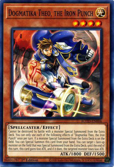 YuGiOh Rise of the Duelist Common Dogmatika Theo, the Iron Punch ROTD-EN006