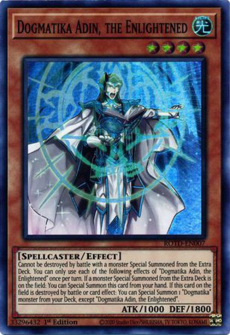 YuGiOh Rise of the Duelist Super Rare Dogmatika Adin, the Enlightened ROTD-EN007