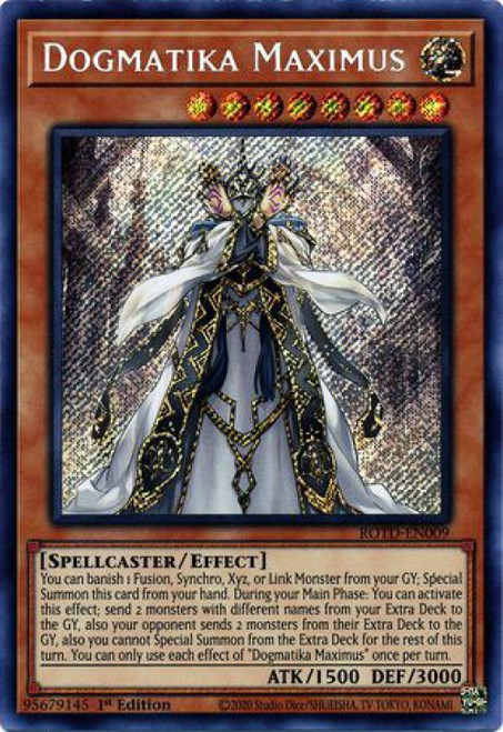 YuGiOh Rise of the Duelist Secret Rare Dogmatika Maximus ROTD-EN009