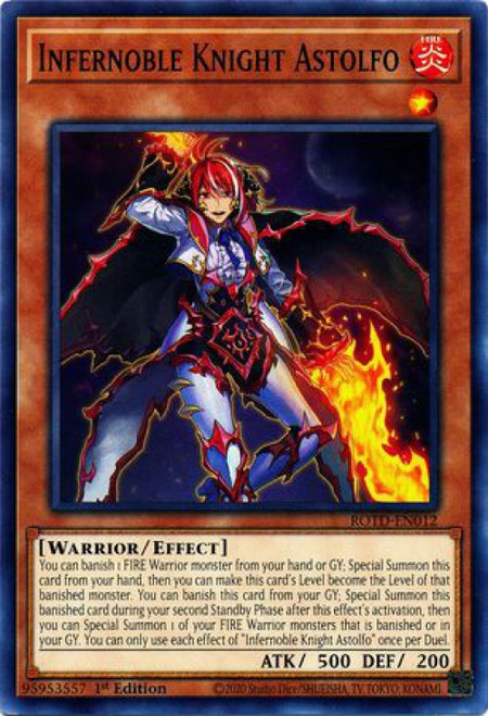 YuGiOh Rise of the Duelist Common Infernoble Knight Astolfo ROTD-EN012