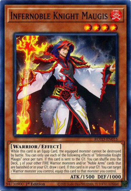 YuGiOh Rise of the Duelist Common Infernoble Knight Maugis ROTD-EN015
