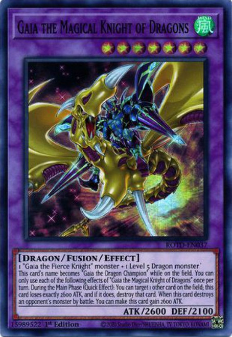 YuGiOh Rise of the Duelist Super Rare Gaia the Magical Knight of Dragons ROTD-EN037