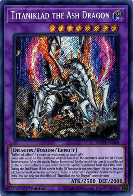 YuGiOh Rise of the Duelist Secret Rare Titaniklad the Ash Dragon ROTD-EN038