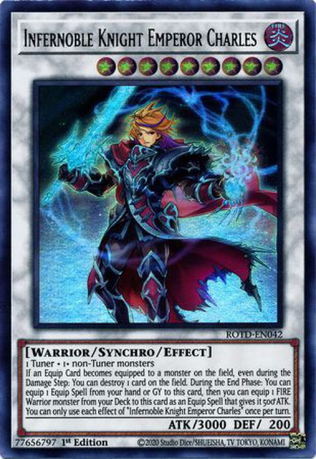 YuGiOh Rise of the Duelist Ultra Rare Infernoble Knight Emperor Charles ROTD-EN042