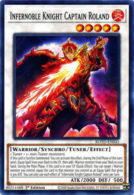 YuGiOh Rise of the Duelist Common Infernoble Knight Captain Roland ROTD-EN041