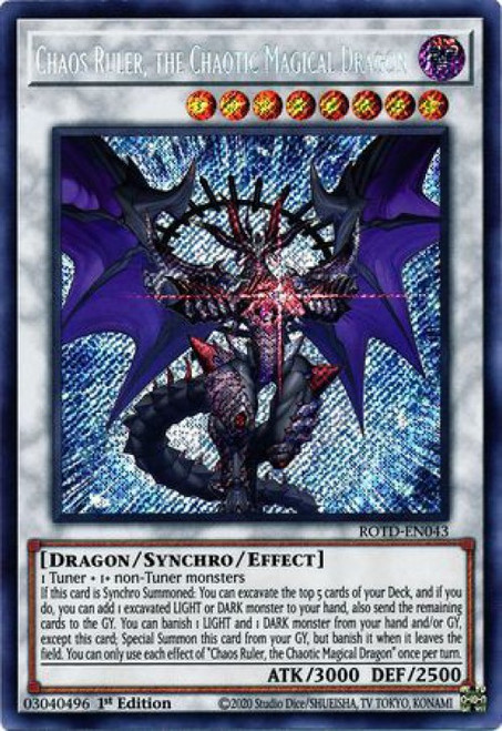 YuGiOh Rise of the Duelist Secret Rare Chaos Ruler, the Chaotic Magical Dragon ROTD-EN043