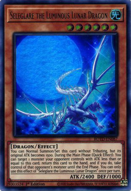 YuGiOh Rise of the Duelist Ultra Rare Seleglare the Luminous Lunar Dragon ROTD-EN087