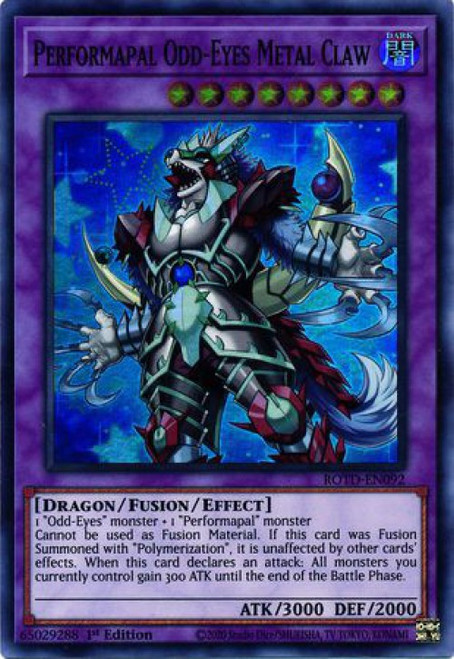 YuGiOh Rise of the Duelist Super Rare Performapal Odd-Eyes Metal Claw ROTD-EN092